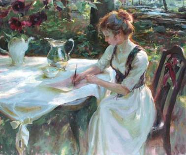 Painting of a woman writing.