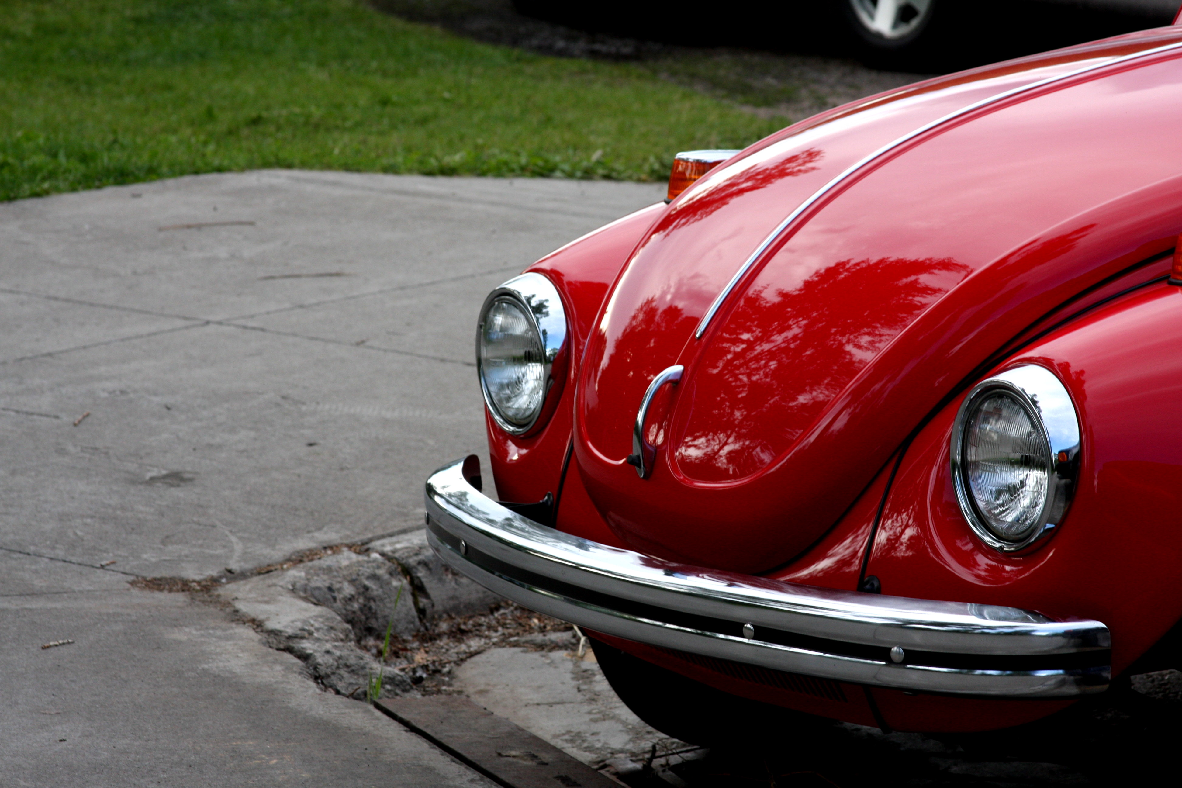 A beautiful red vintage VW,