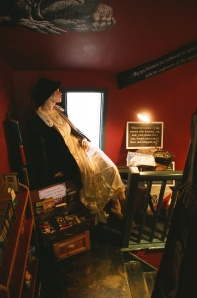 A comfy corner in the Murder and Mayhem Bookstore in Hay-on-Wye, Wales